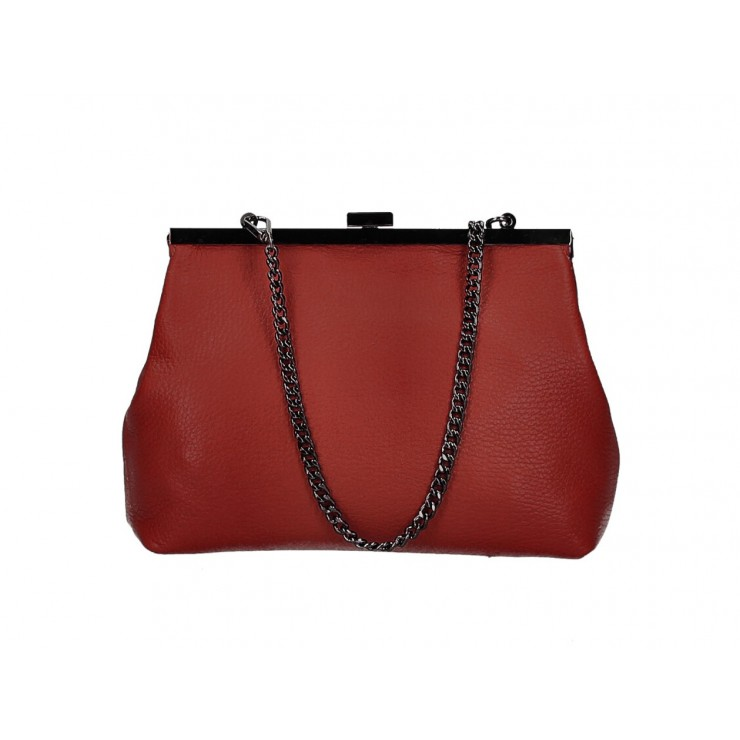 Kožená kabelka 295 červená Made in Italy