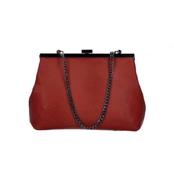 Kožená kabelka 295 červená Made in Italy Červená