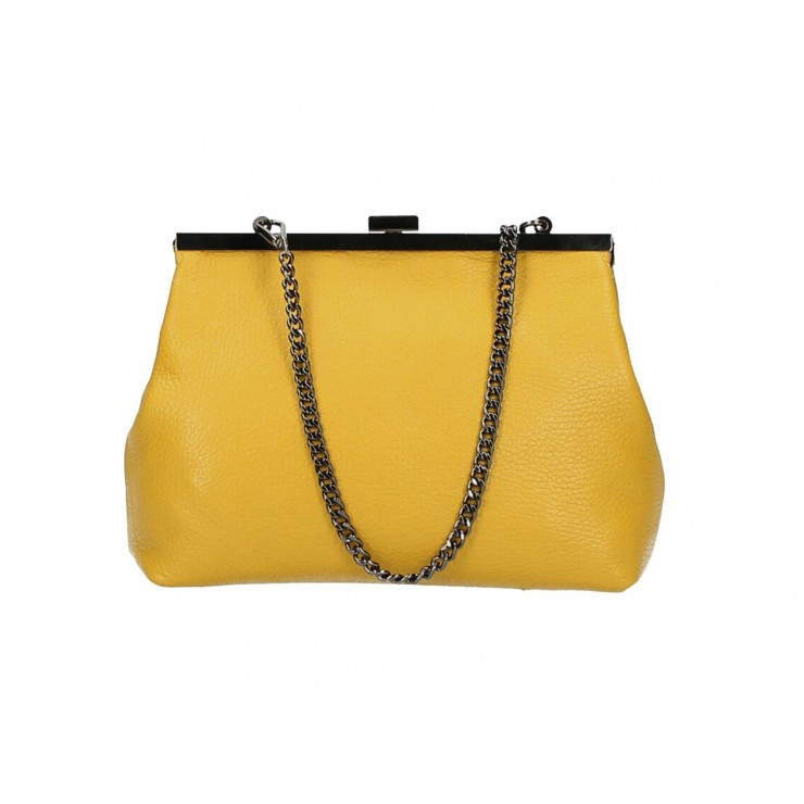 Clutch Bag with chain 295 mustard Made in Italy
