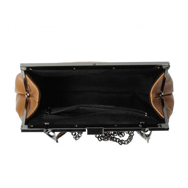 Kožená kabelka 295 okrová Made in Italy Okrová