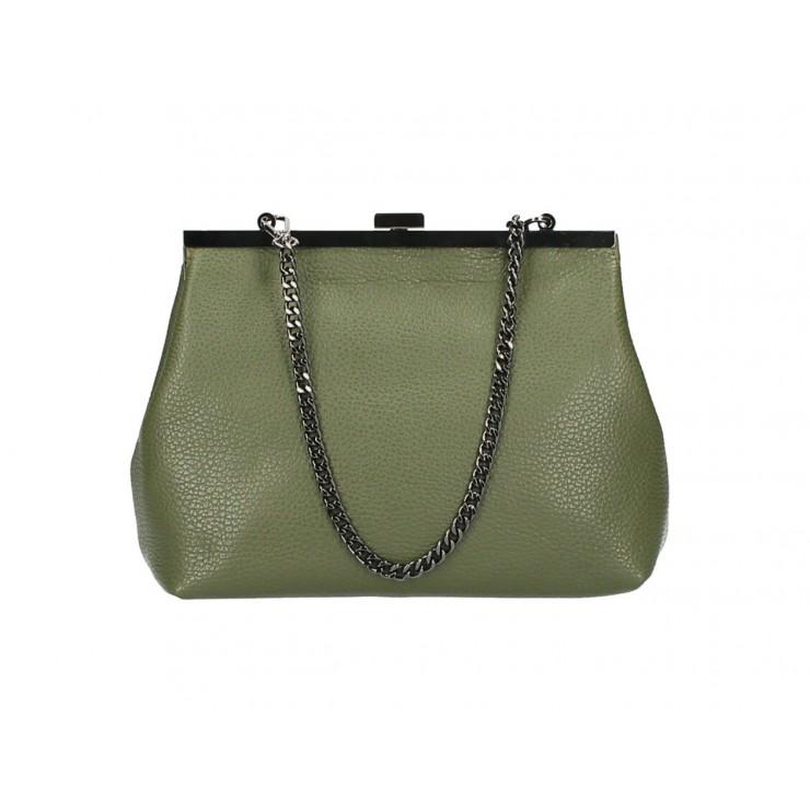 Kožená kabelka 295 vojenská zelená Made in Italy