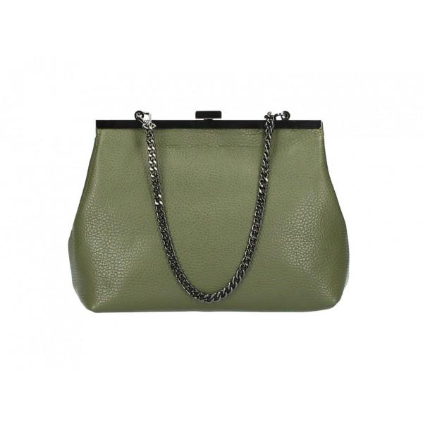 Kožená kabelka 295 vojenská zelená Made in Italy Zelená