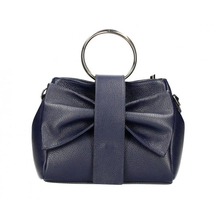 Leather Handbag 275 blue navy MADE IN ITALY