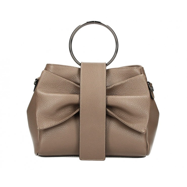 Leather Handbag 275 dark taupe MADE IN ITALY