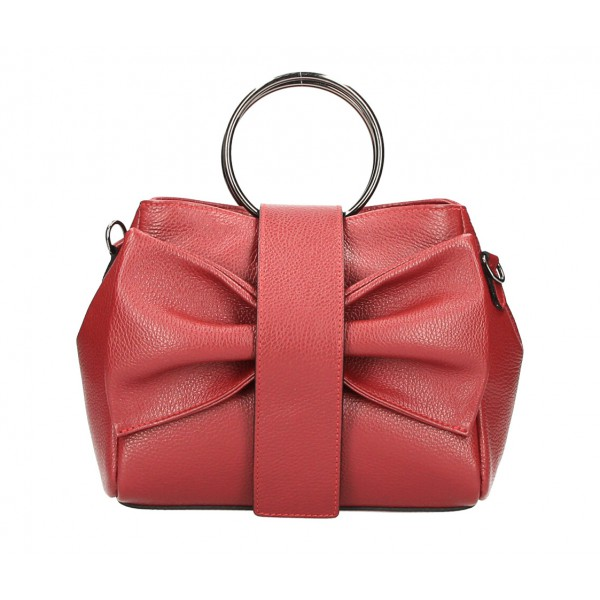 Kožená kabelka 275 tmavočervená MADE IN ITALY Červená