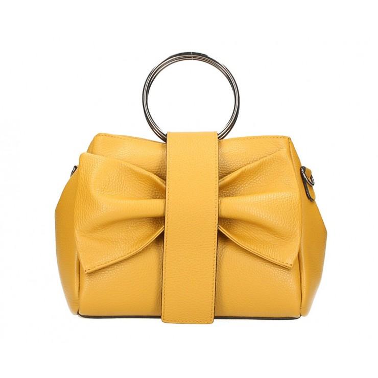 Leather Handbag 275 mustard MADE IN ITALY
