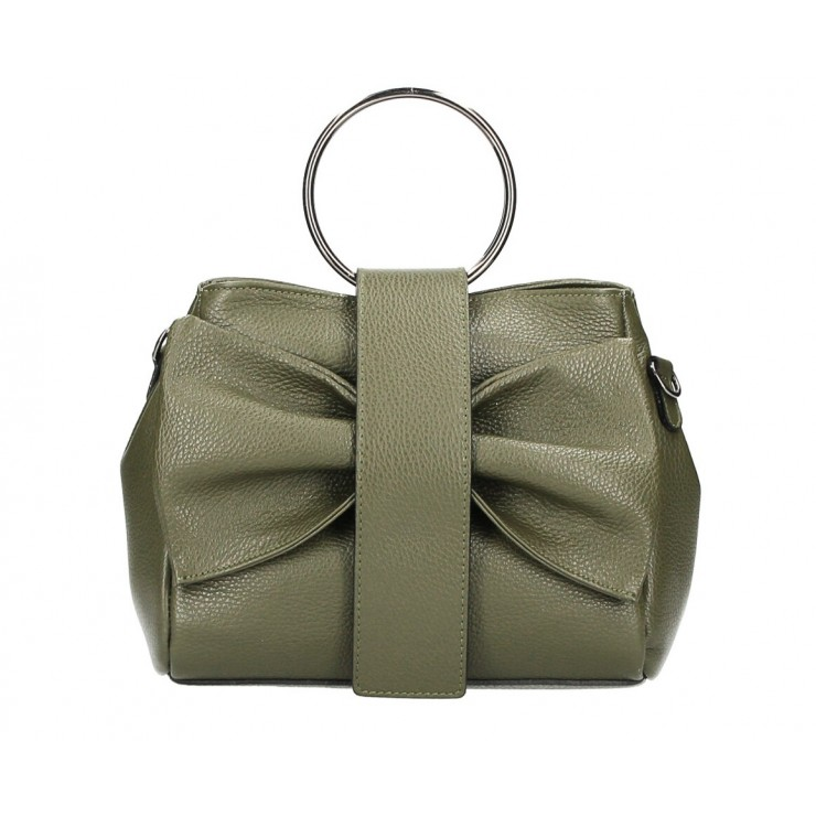 Leather Handbag 275 military green MADE IN ITALY