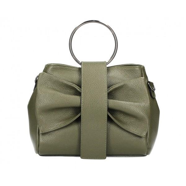 Kožená kabelka 275 vojenska zelená MADE IN ITALY Zelená