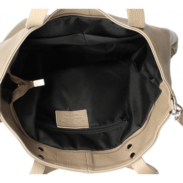 Kožená kabelka na rameno 165 strieborná MADE IN ITALY Strieborná