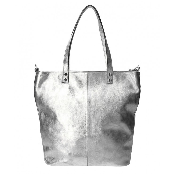 Genuine Leather Maxi Bag 165 silver MADE IN ITALY