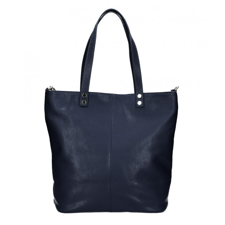 Genuine Leather Maxi Bag 165 blue navy MADE IN ITALY