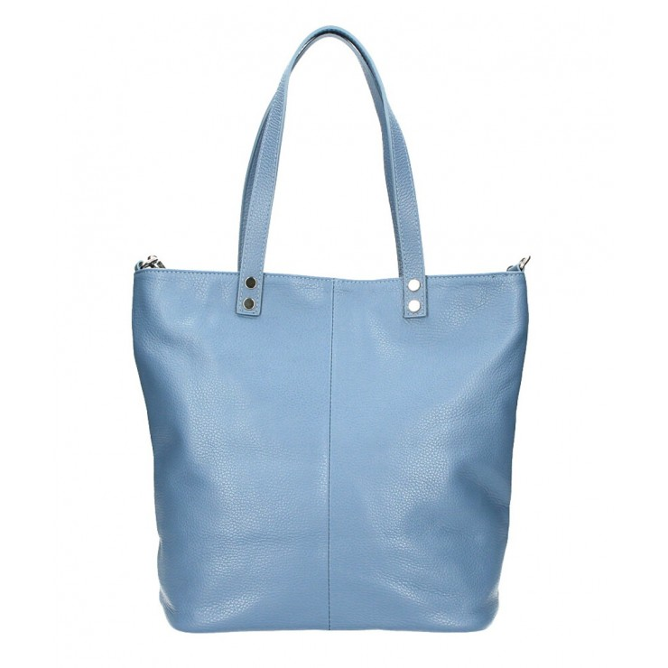 Genuine Leather Maxi Bag 165 cerulean MADE IN ITALY