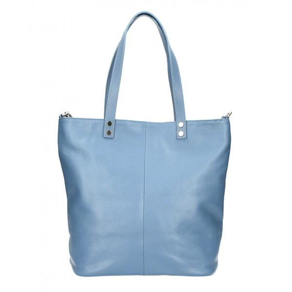 Kožená kabelka na rameno 165 blankytna modrá MADE IN ITALY Blankytna modrá