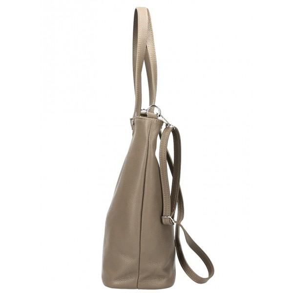 Kožená kabelka na rameno 165 tmavá šedohnedá MADE IN ITALY Šedohnedá