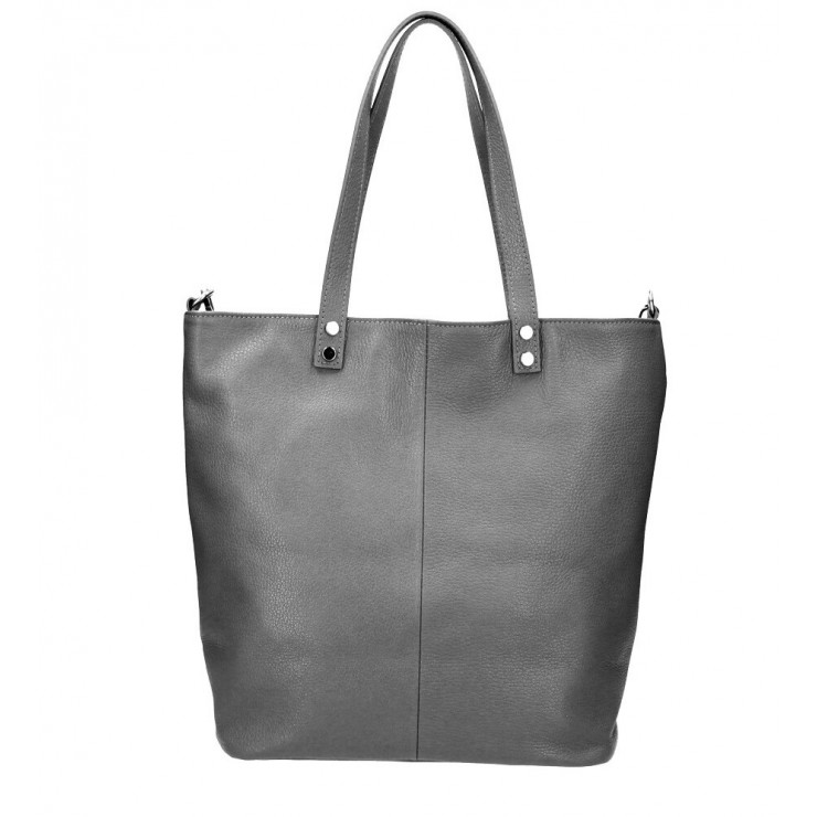 Genuine Leather Maxi Bag 165 dark gray MADE IN ITALY