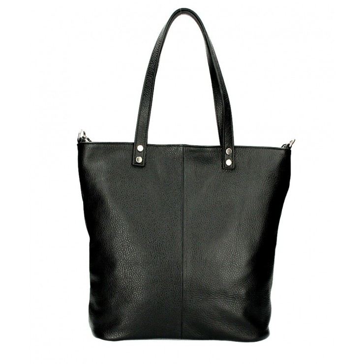 Genuine Leather Maxi Bag 165 black MADE IN ITALY