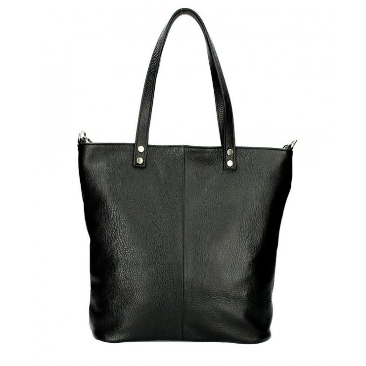 Kožená kabelka na rameno 165 čierna MADE IN ITALY