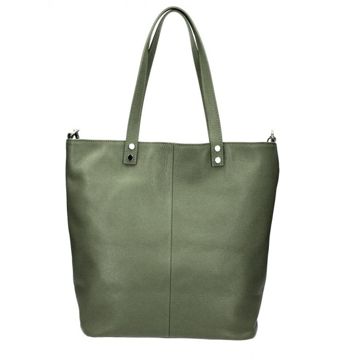Genuine Leather Maxi Bag 165 military green MADE IN ITALY