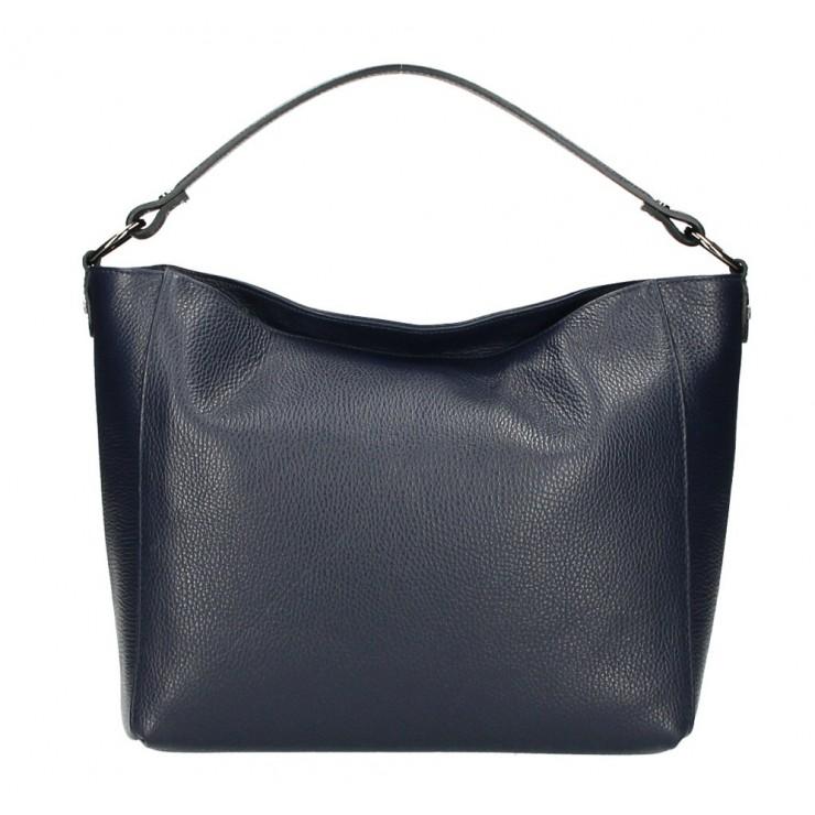 Genuine Leather Handbag 1268 blue navy Made in Italy