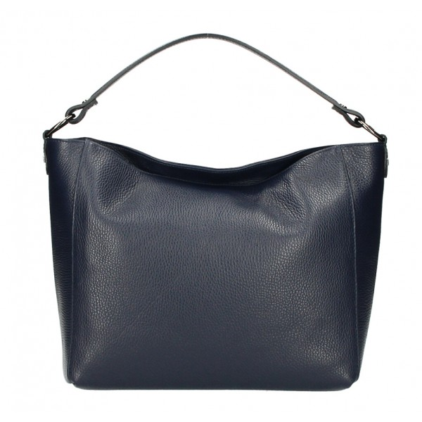 Kožená kabelka 1268 tmavomodrá Made in Italy Modrá