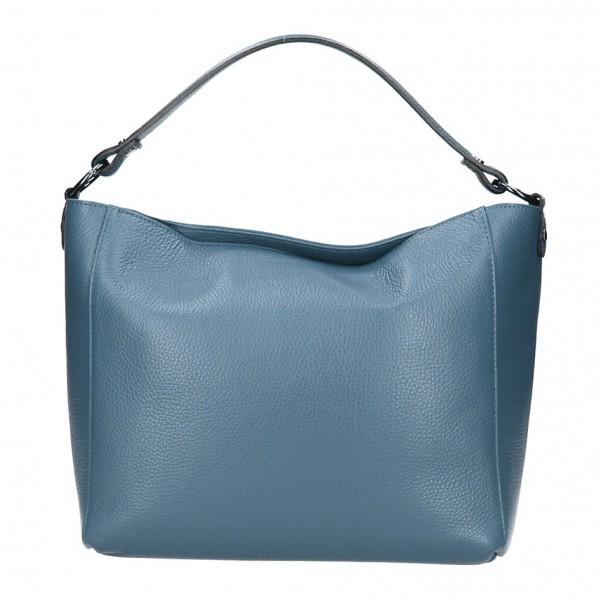 Kožená kabelka 1268 blankytna modrá Made in Italy Blankytna modrá