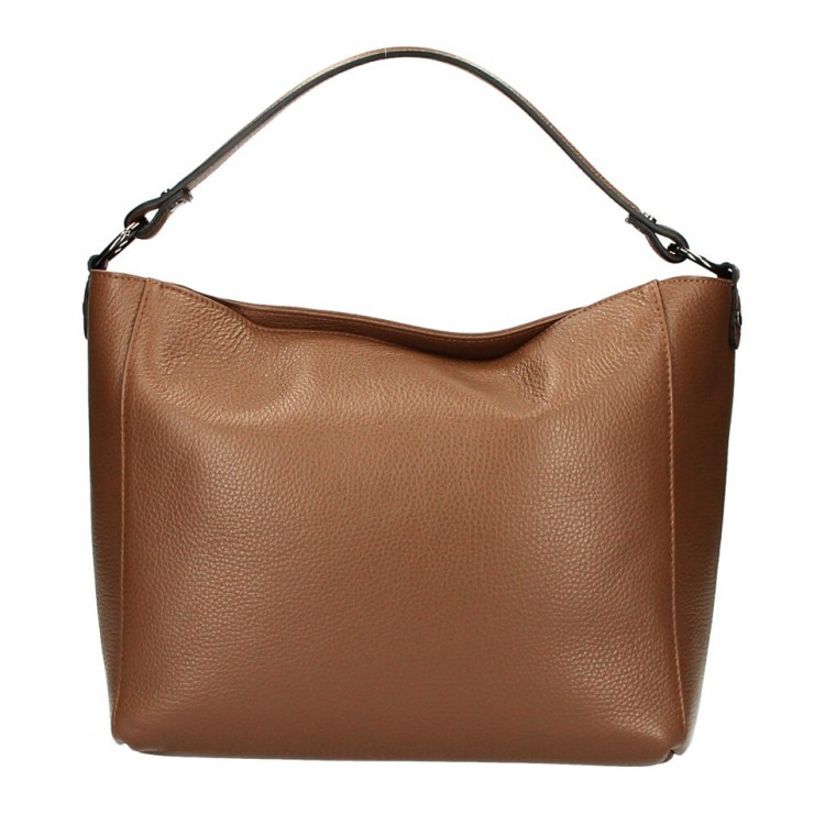 Genuine Leather Handbag 1268 cognac Made in Italy