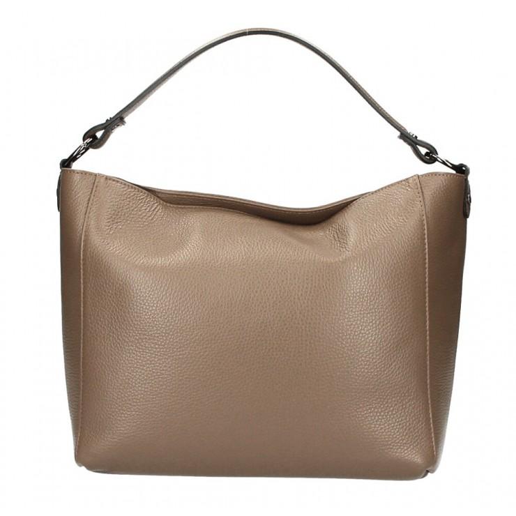 Genuine Leather Handbag 1268 dark taupe Made in Italy