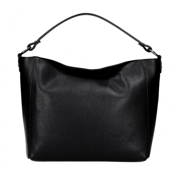 Kožená kabelka 1268 čierna Made in Italy Čierna