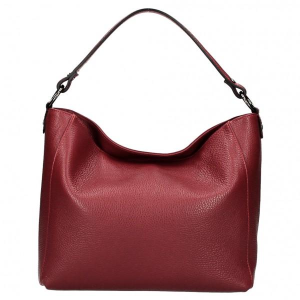 Kožená kabelka 1268 tmavočervená Made in Italy Červená