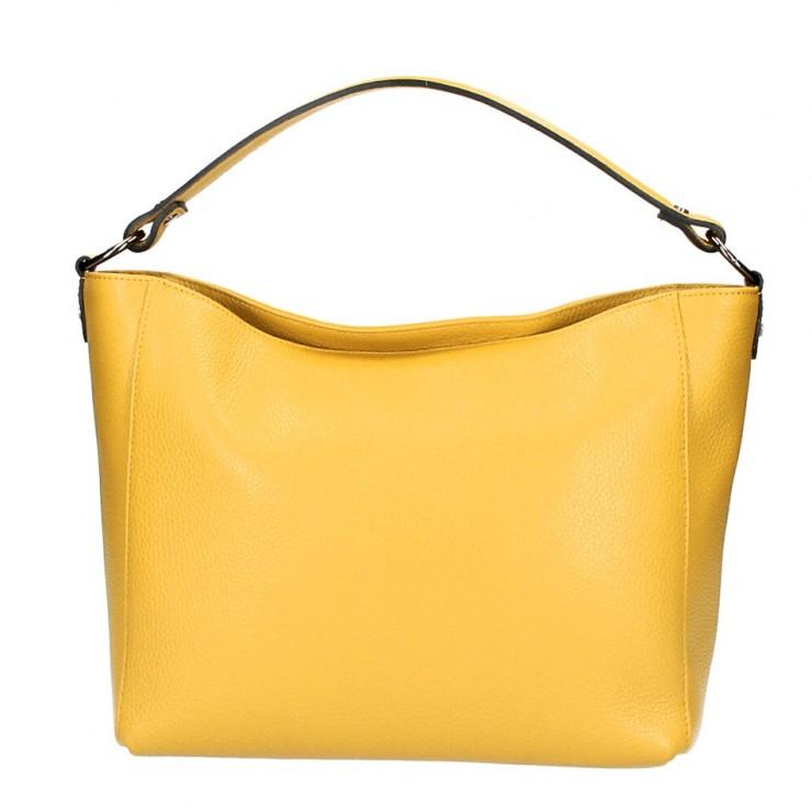 Genuine Leather Handbag 1268 mustard Made in Italy