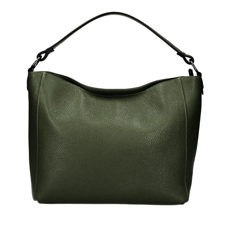 Genuine Leather Handbag 1268 military green Made in Italy