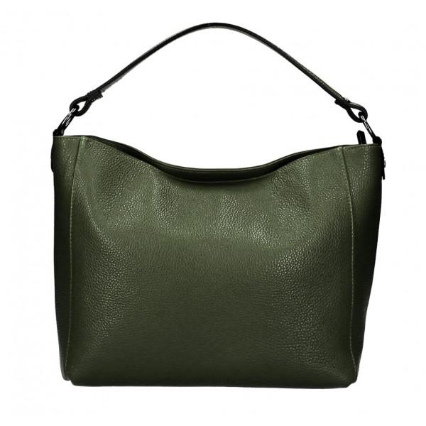 Kožená kabelka 1268 vojenska zelená Made in Italy Červená