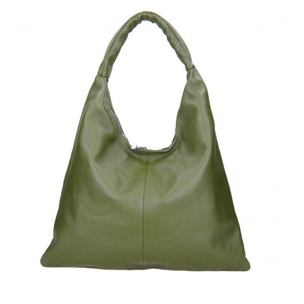 Kožená kabelka na rameno 139 vojenska zelená MADE IN ITALY Zelená