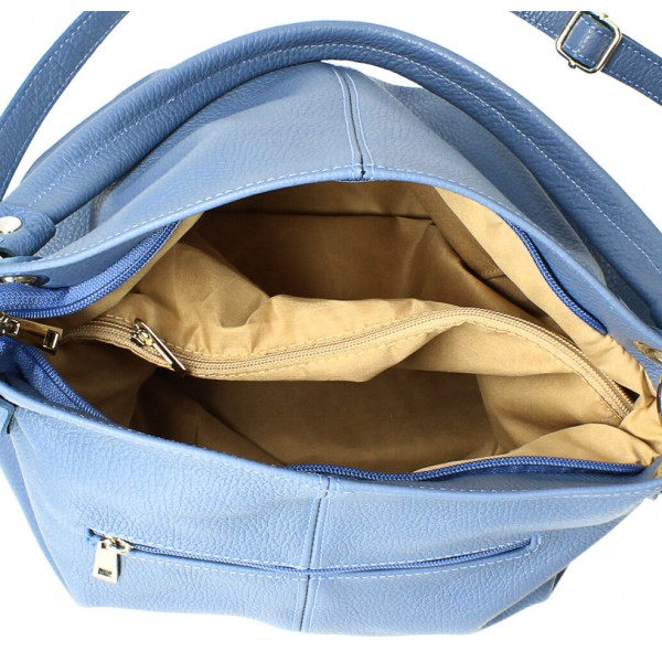Kožená kabelka 168 tmavomodrá Made in Italy Modrá