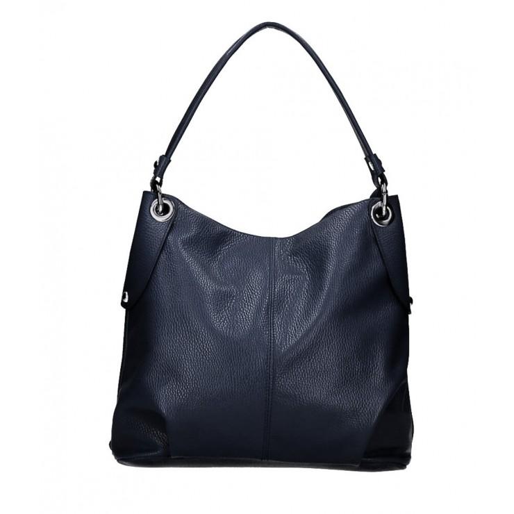 Genuine Leather Handbag 168 blue navy Made in Italy
