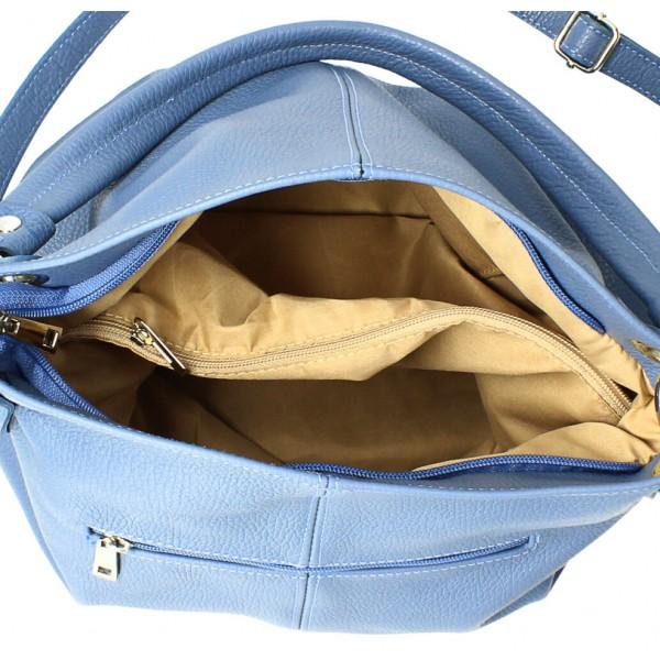 Kožená kabelka 168 blankytna modrá Made in Italy Blankytna modrá