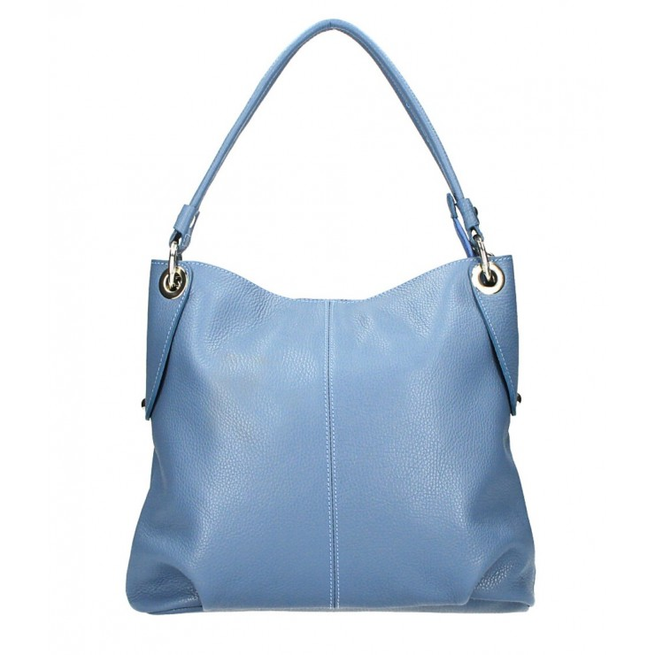 Genuine Leather Handbag 168 cerulean Made in Italy