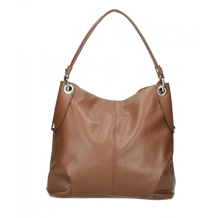 Genuine Leather Handbag 168 cognac Made in Italy