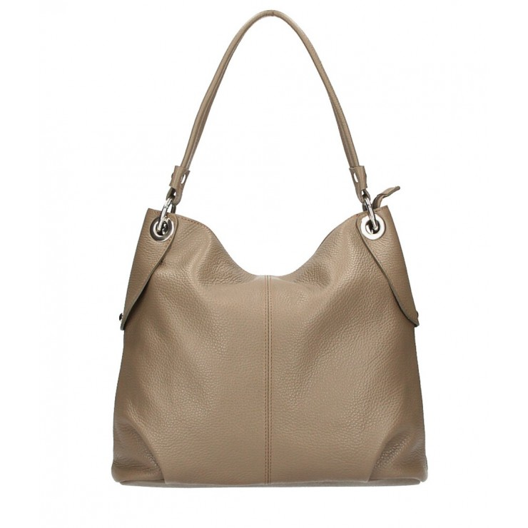 Genuine Leather Handbag 168 dark taupe Made in Italy