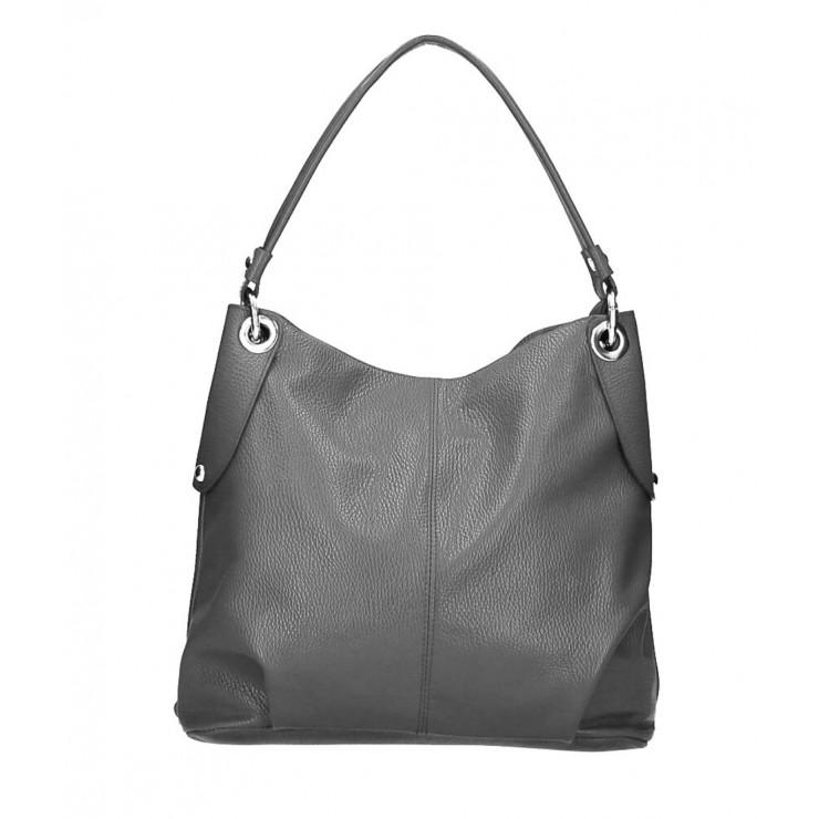 Genuine Leather Handbag 168 dark gray Made in Italy