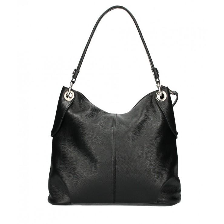 Kožená kabelka 168 čierna Made in Italy