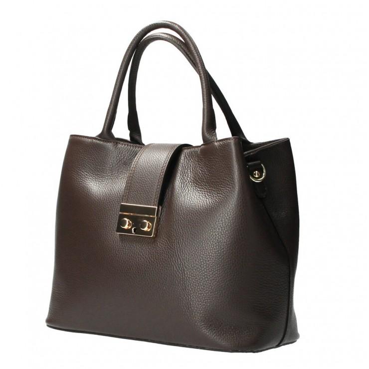 Woman Leather Handbag 1137 dark brown