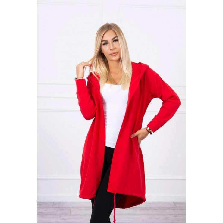 Long cardigan with hood LOVE MI9113 red