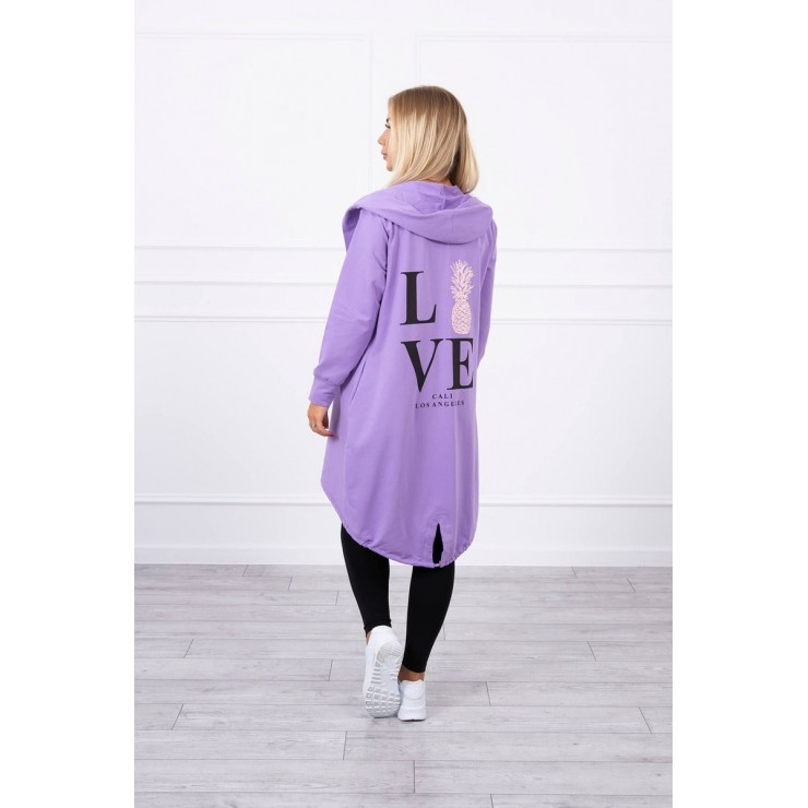 Long cardigan with hood LOVE MI9113 purple