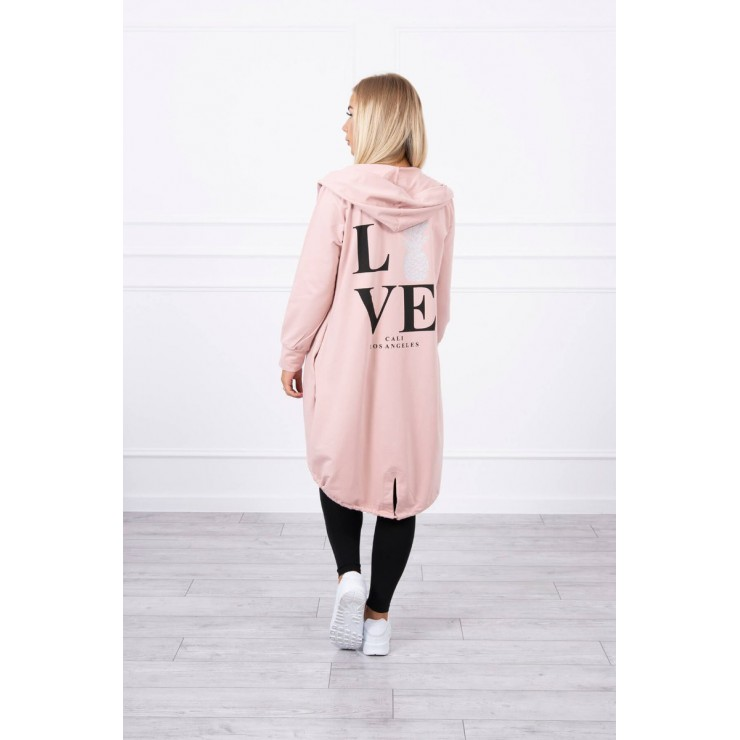 Long cardigan with hood LOVE MI9113 powder pink