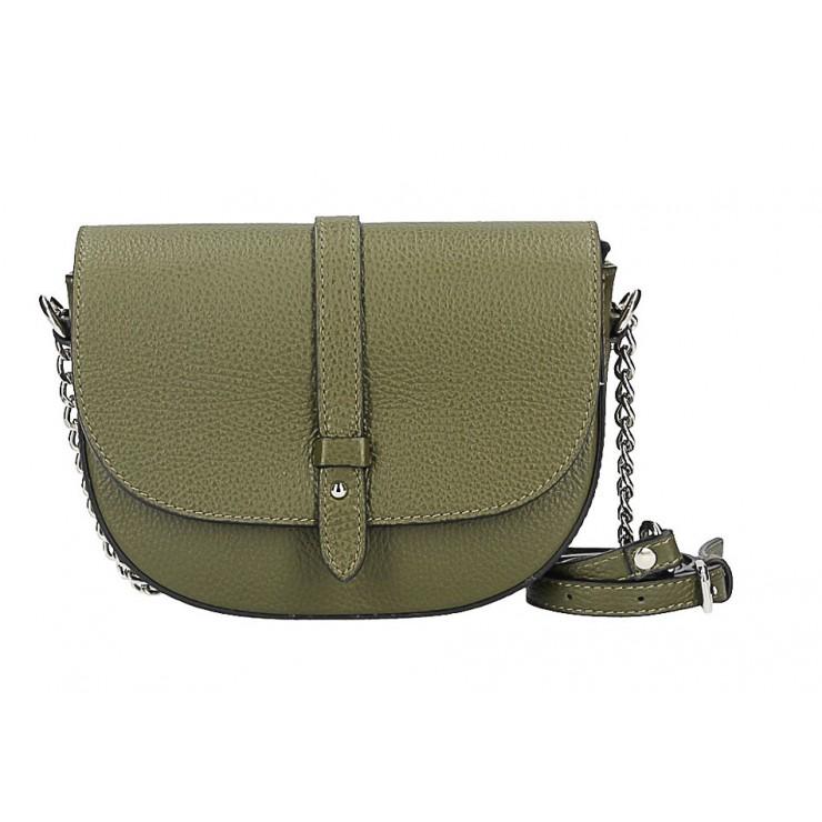 Kožená kabelka 5344 vojenská zelená