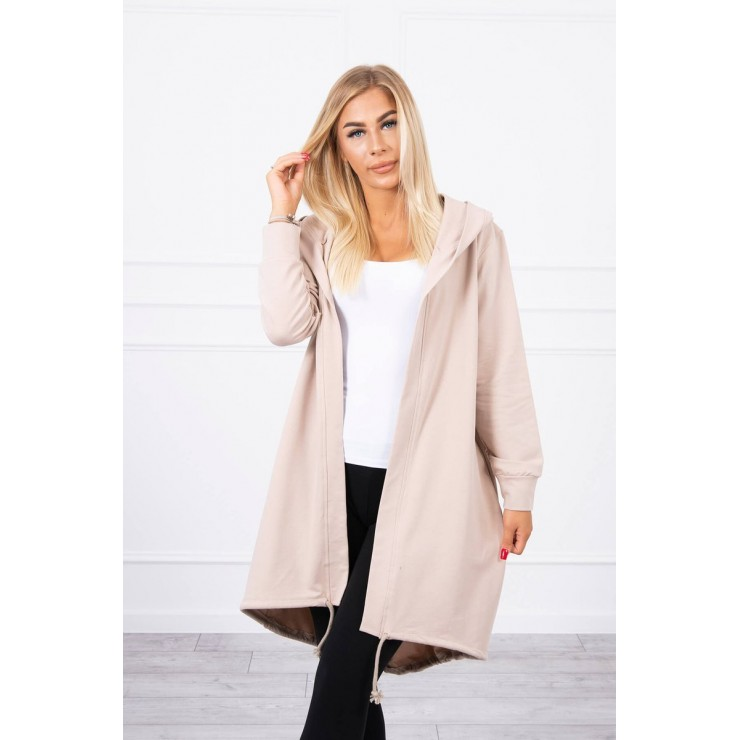 Long cardigan with hood LOVE MI9113 beige