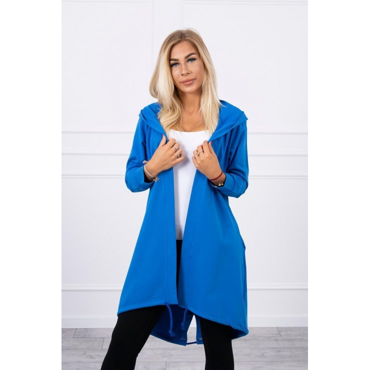 Long cardigan with hood LOVE MI9113 bluette