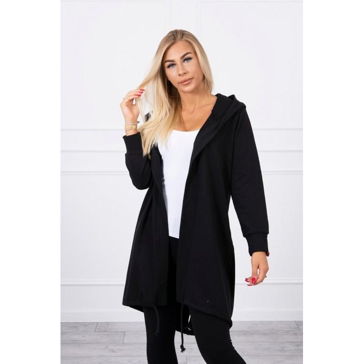 Long cardigan with hood LOVE MI9113 black