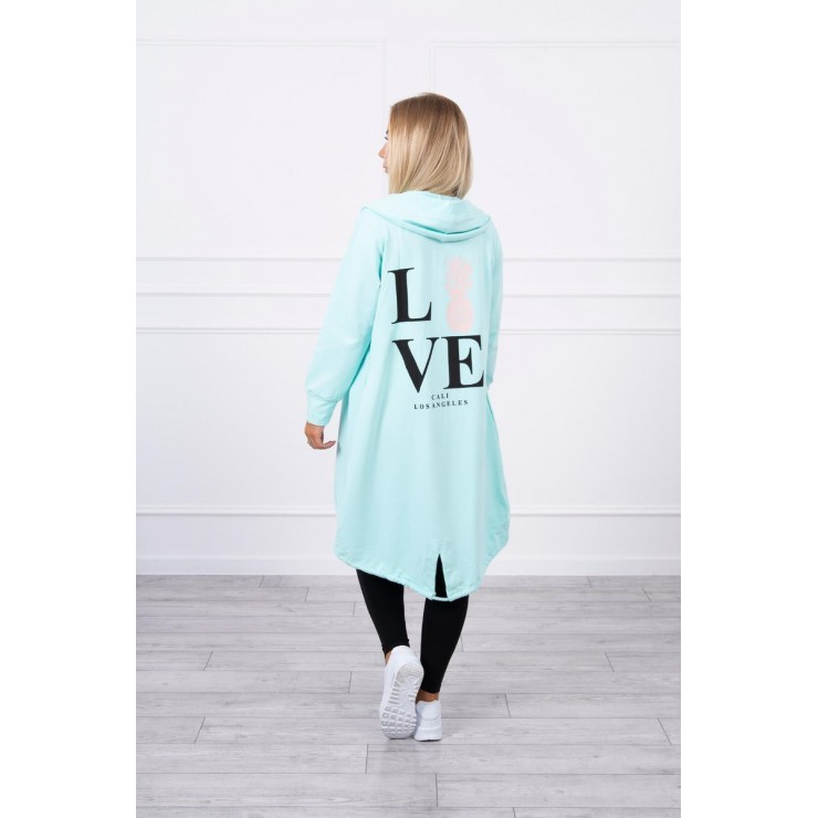 Long cardigan with hood LOVE MI9113 mint